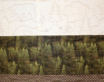 Picture of Bear Moose and Pines Pantograph on woods theme quilt