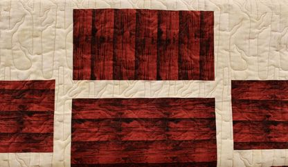 Picture of Winter Forest on Wood Plank Quilt with Grunge Background Fabric
